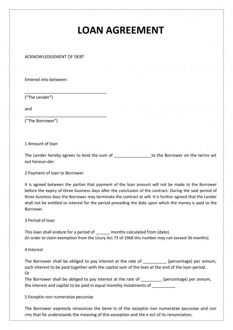 004 Awful Loan Agreement Template Free High Def  Wording Family Uk Personal Australia480