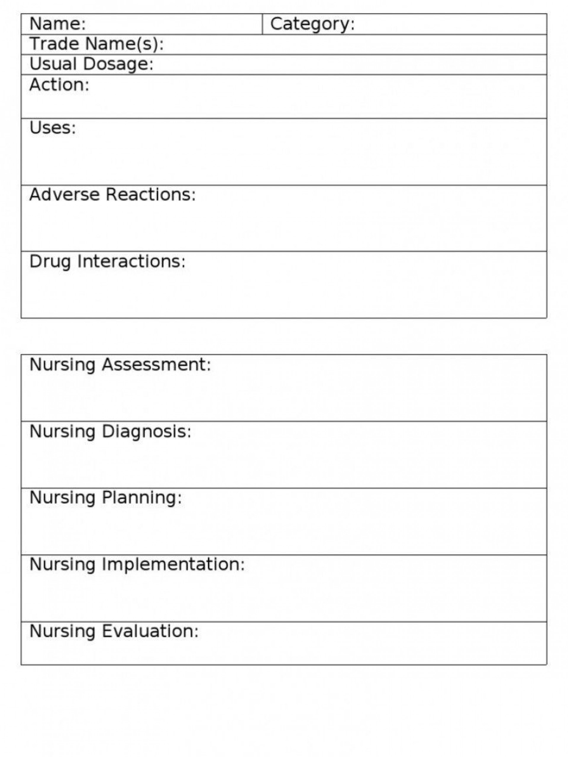 004 Awful Nursing Drug Card Template Concept  School Download Printable1920