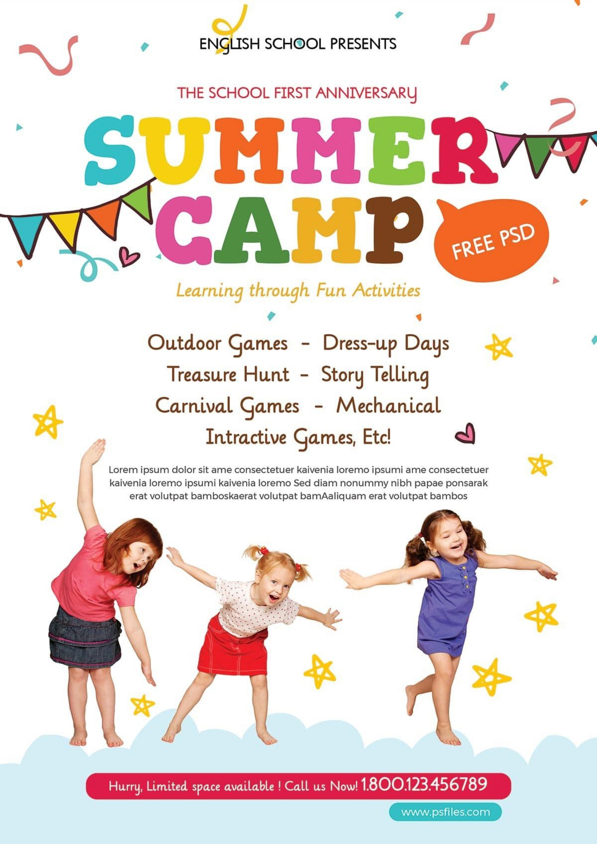 004 Awful Summer Camp Flyer Template Image  Day Microsoft Word Background1920