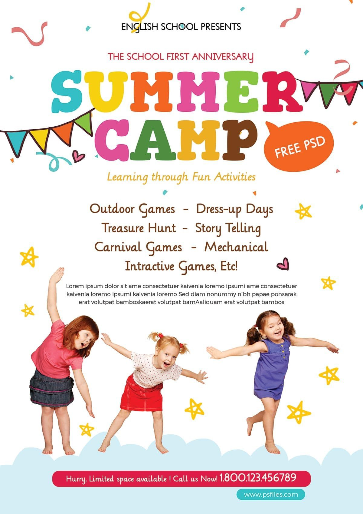 004 Awful Summer Camp Flyer Template Image  Day Microsoft Word BackgroundFull