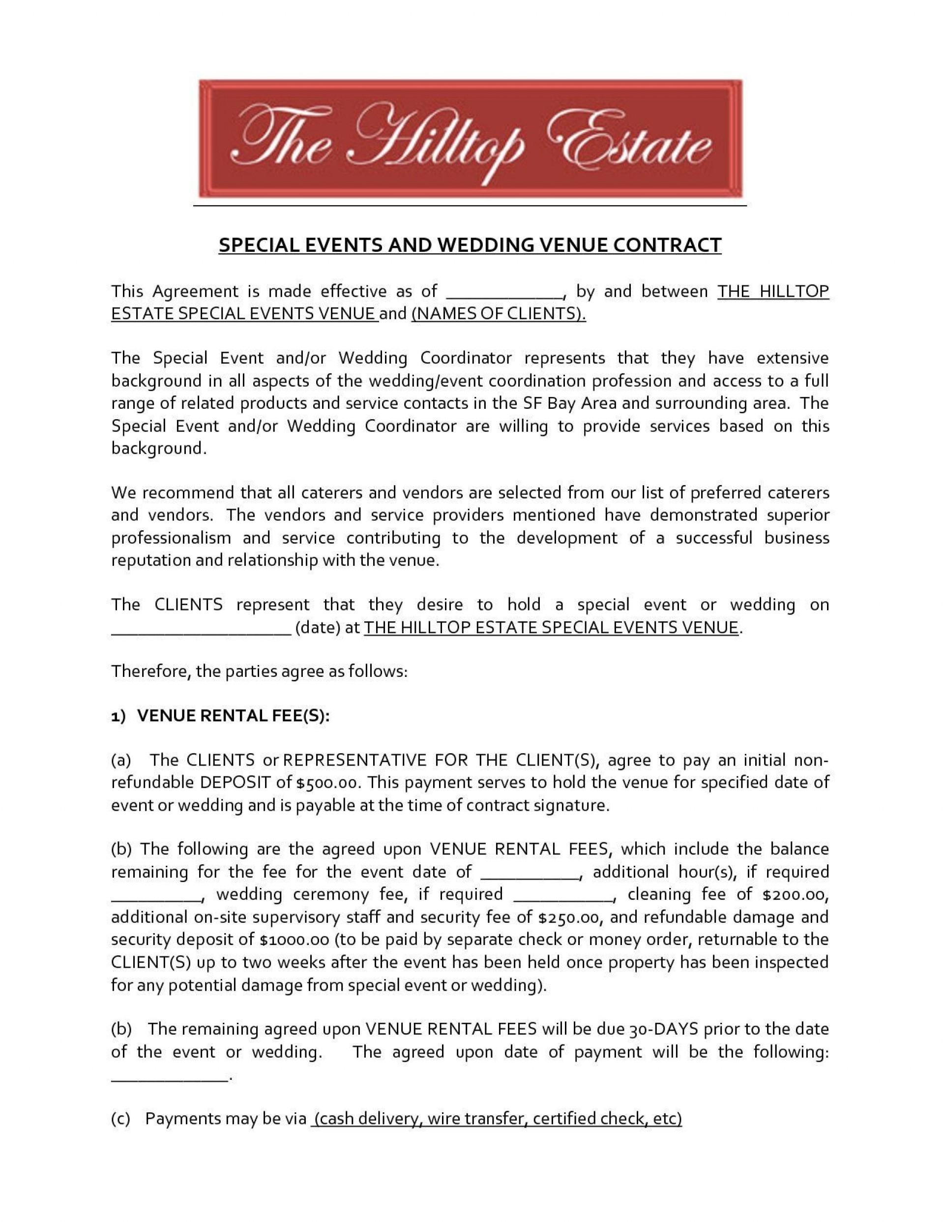 004 Awful Wedding Venue Contract Template Highest Clarity  Hire Sample Agreement1920