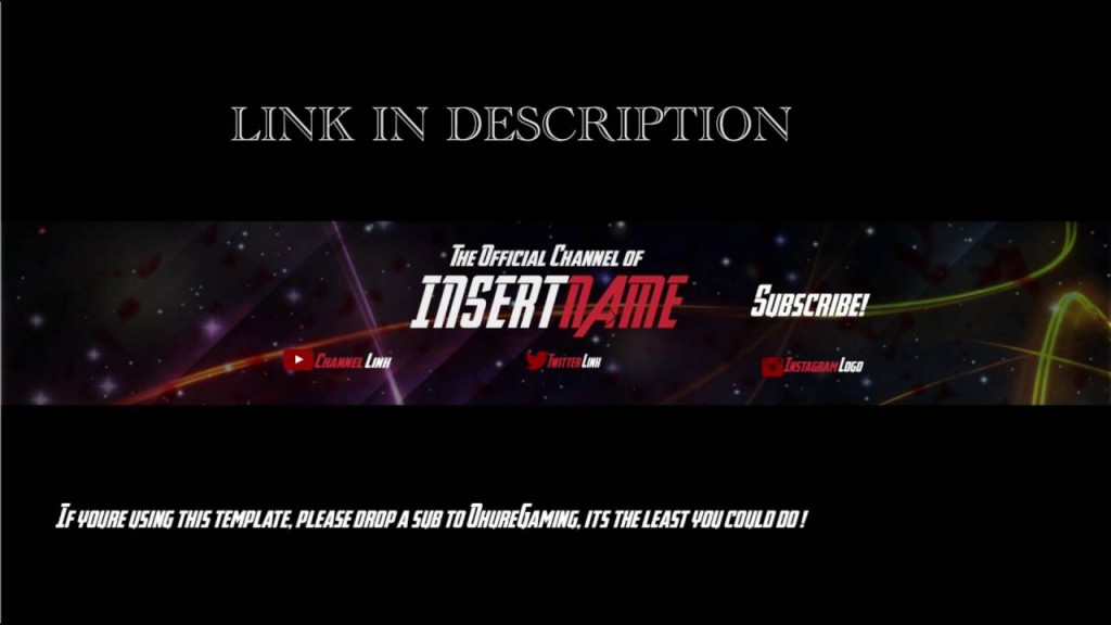 004 Awful Youtube Channel Art Template Photoshop Download Concept Large