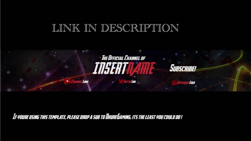 004 Awful Youtube Channel Art Template Photoshop Download Concept