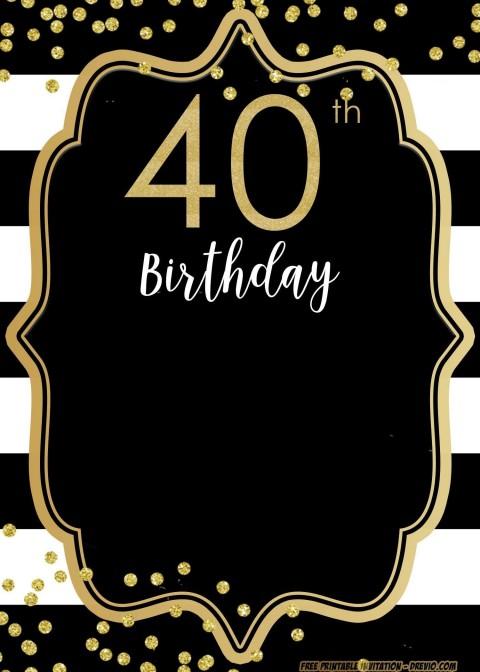 004 Beautiful 40th Birthday Party Invite Template Free Design 480