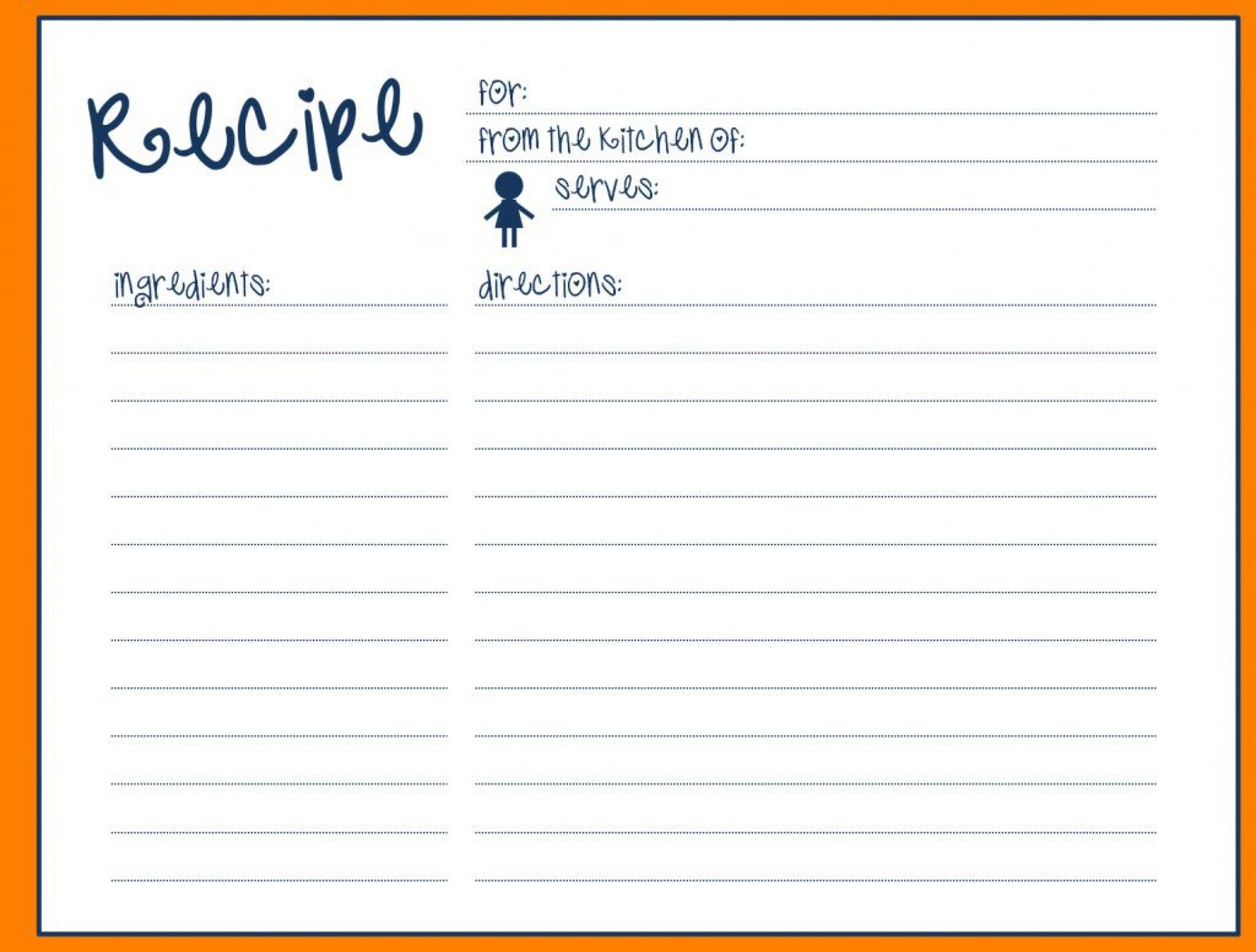 004 Beautiful Fillable Recipe Card Template High Definition  For Word Free1920