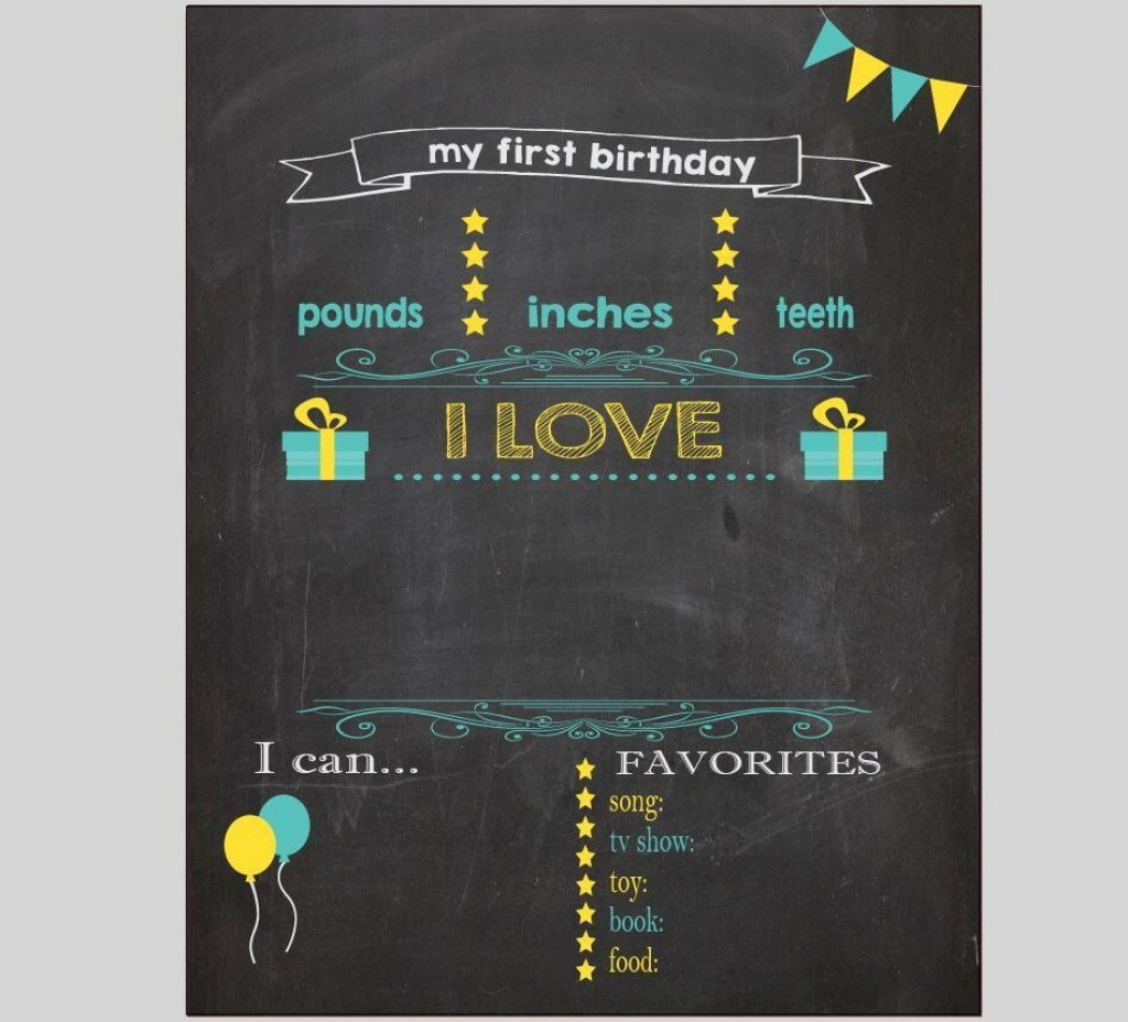004 Beautiful Free Birthday Chalkboard Template Sample  First Printable BabyLarge