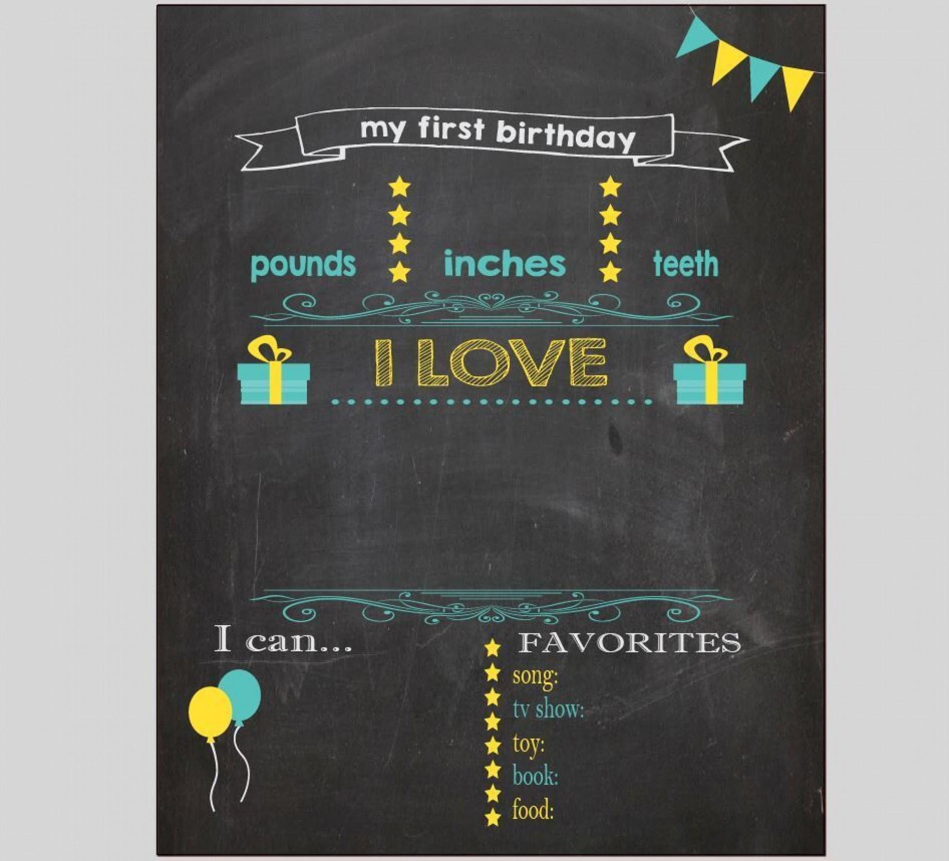004 Beautiful Free Birthday Chalkboard Template Sample  First Printable Baby1920