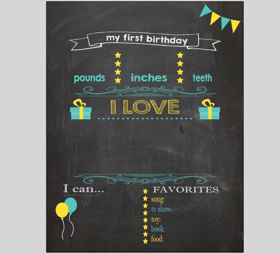 004 Beautiful Free Birthday Chalkboard Template Sample  First Printable BabyFull