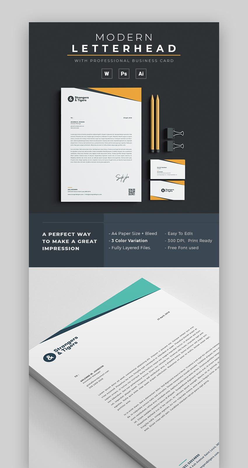 004 Beautiful Letterhead Format In Word 2007 Free Download Photo  Company TemplateFull
