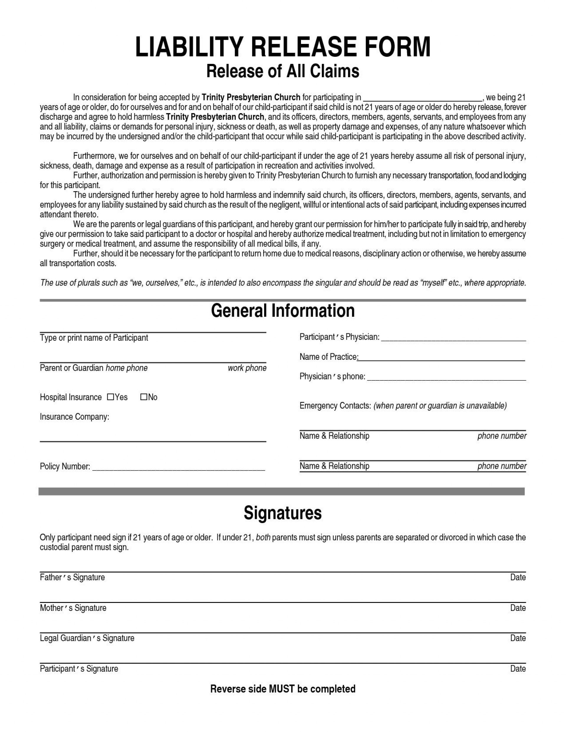 004 Beautiful Liability Release Form Template Sample  General Waiver Church Free1920