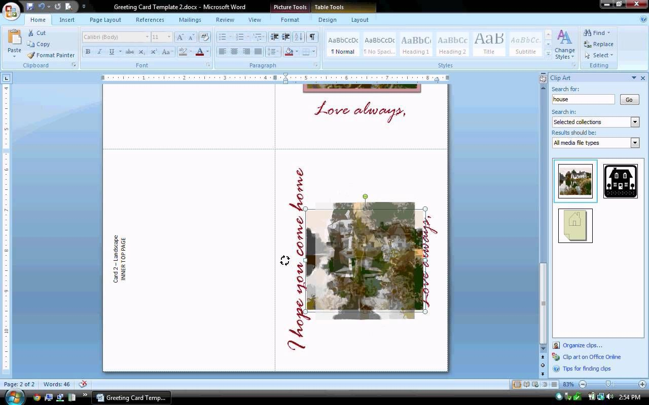 004 Beautiful Microsoft Word Greeting Card Template Idea  Birthday Blank Free 2007Full