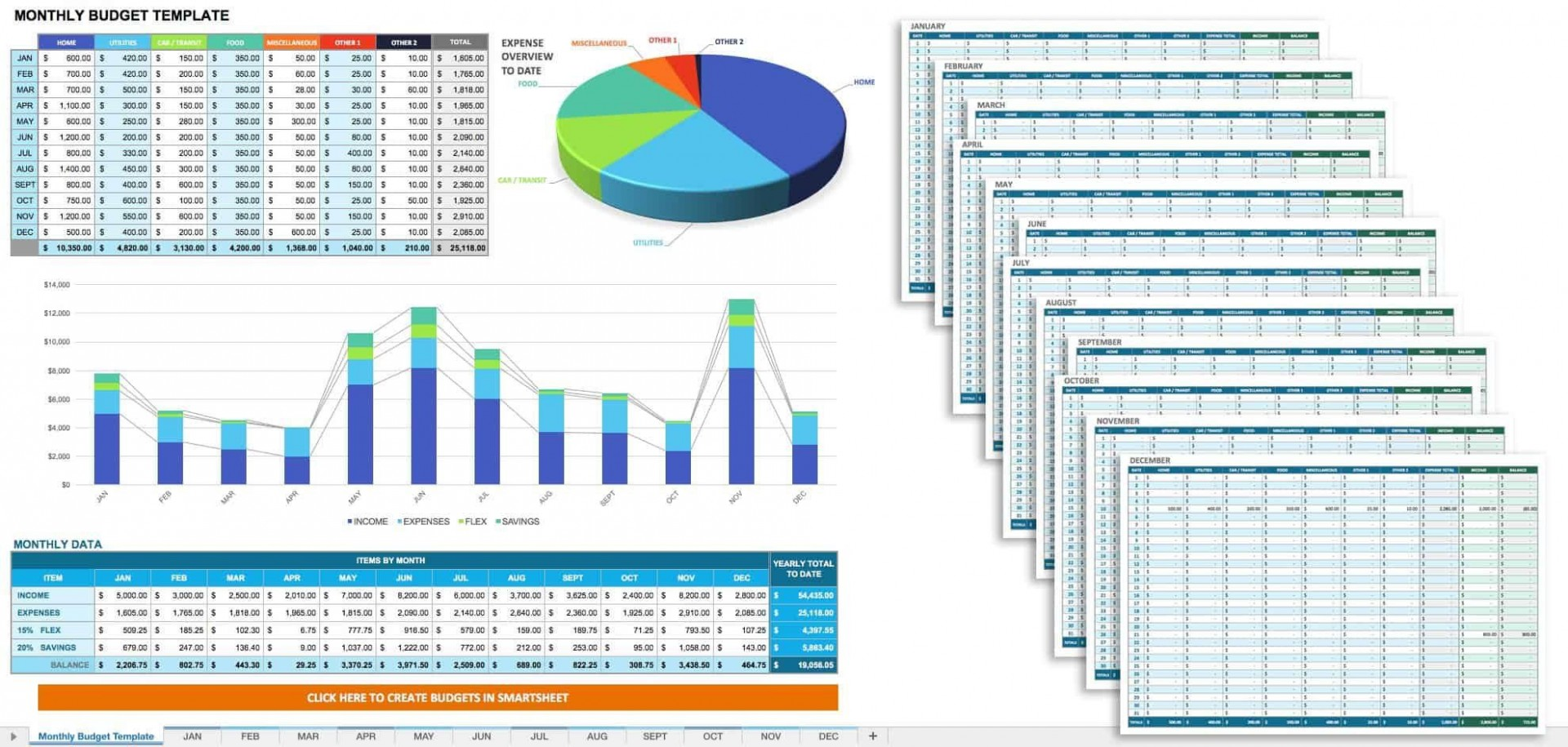 004 Beautiful Monthly Budget Template Excel Highest Clarity  Example1920