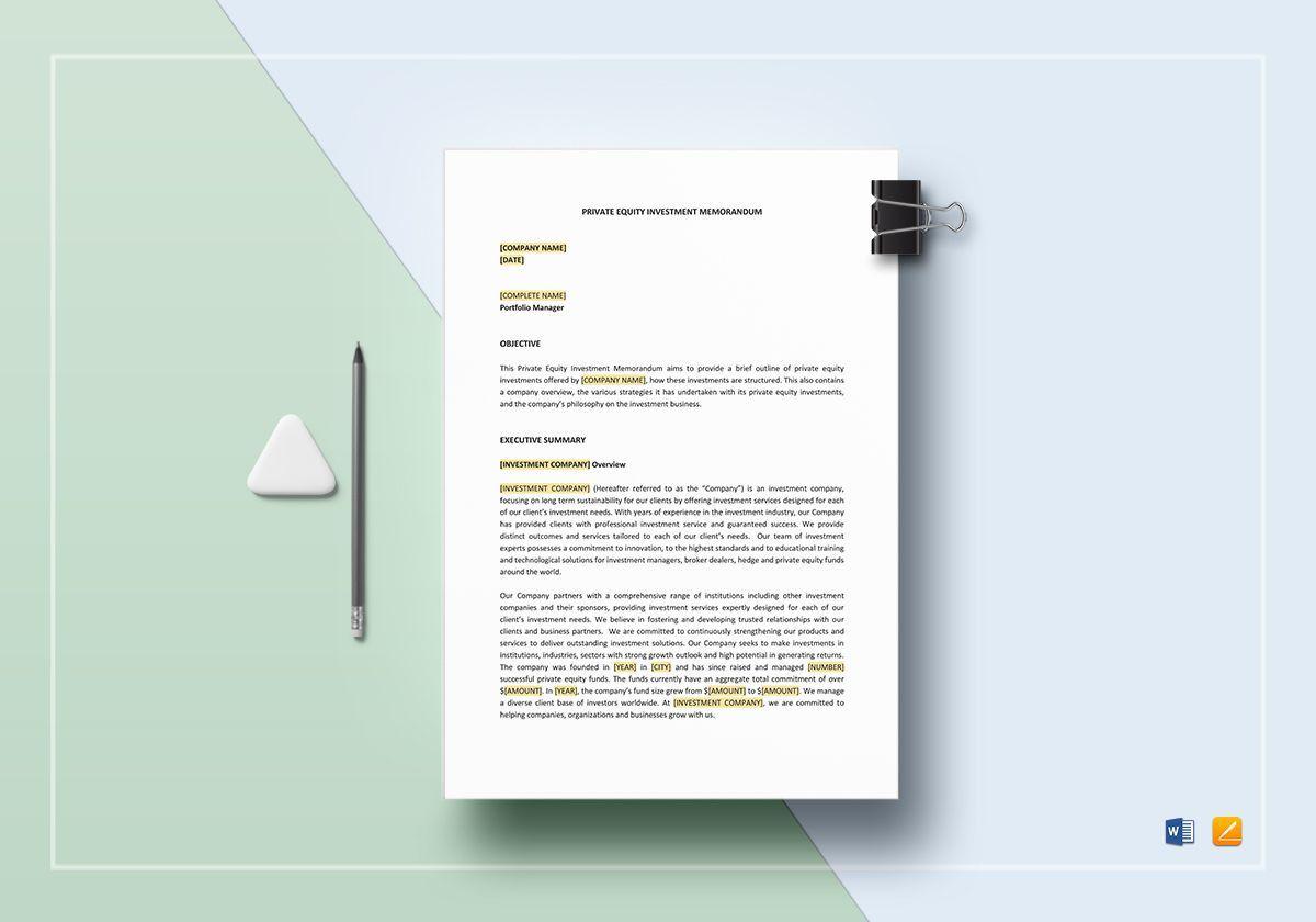 004 Beautiful Private Placement Memorandum Template Doc Idea Full