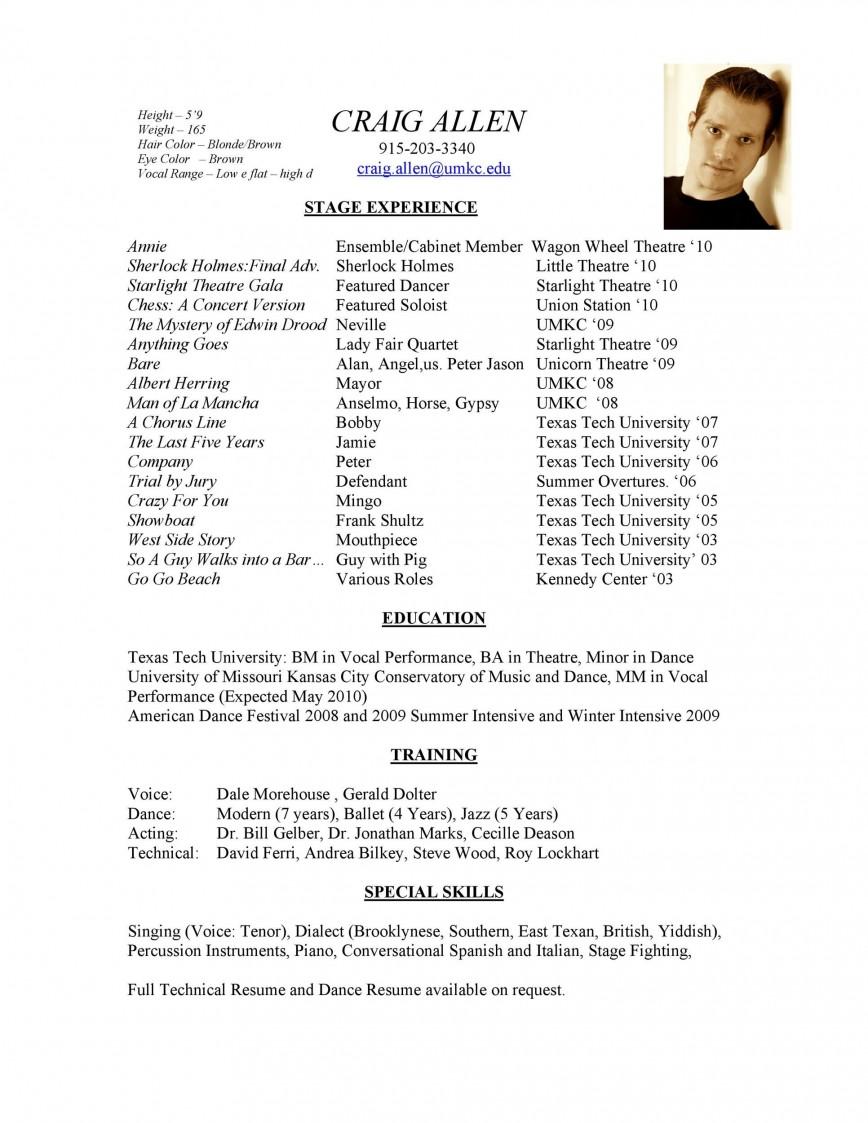004 Beautiful Technical Theatre Resume Template High Resolution  Google Doc Tech868