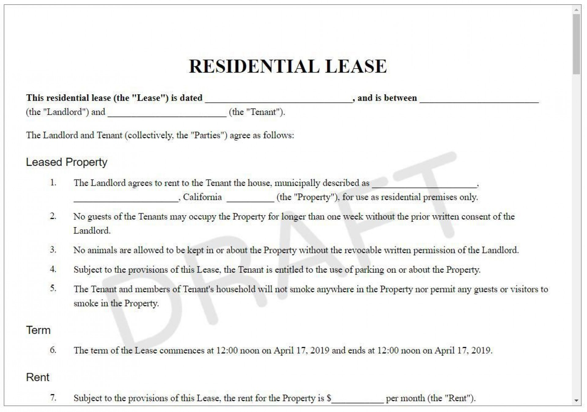 004 Best Apartment Rental Agreement Form Photo  Forms Lease Ontario Format Simple1920
