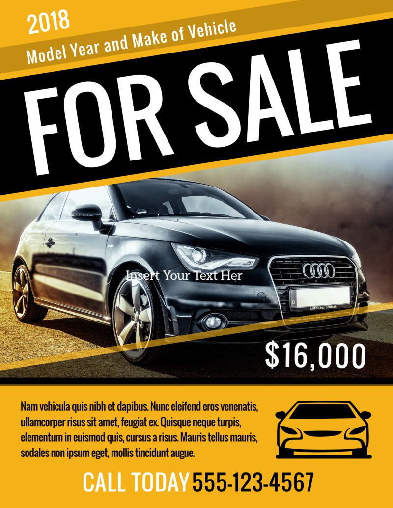 004 Best For Sale Flyer Template Design  Car Ad Microsoft Word HouseFull