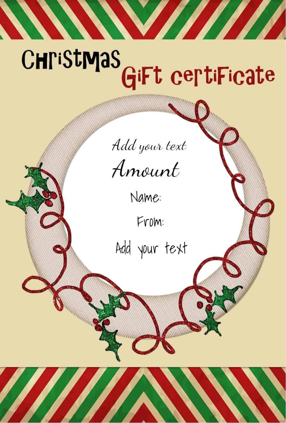 004 Best Free Printable Christma Gift Voucher Template Concept  Templates Holiday CertificateFull