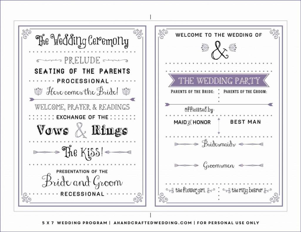 004 Best Free Wedding Program Template Example  Templates Pdf Download Fan WordLarge