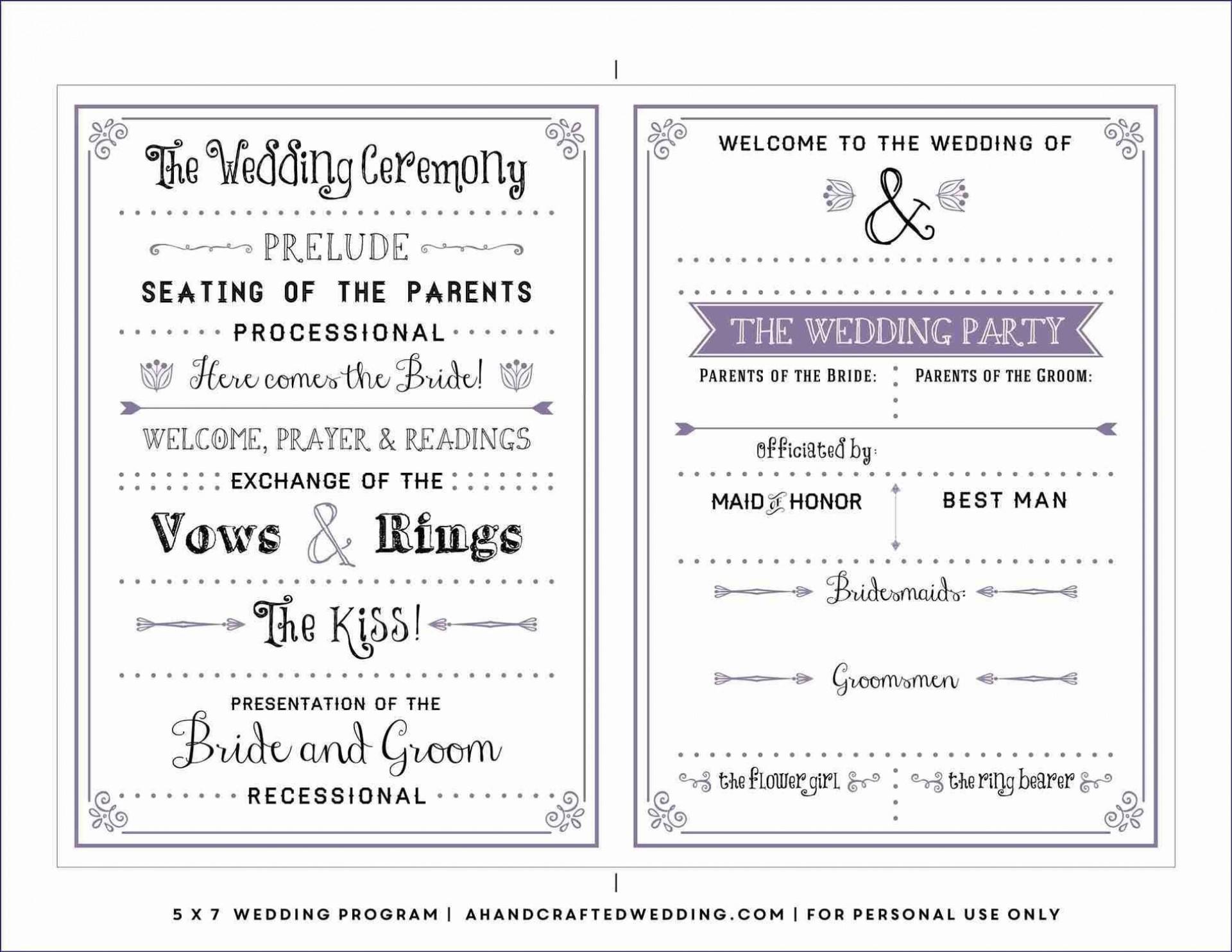 004 Best Free Wedding Program Template Example  Templates Pdf Download Fan Word1920