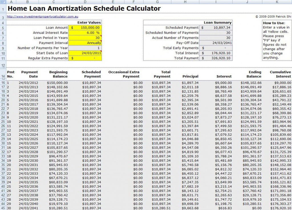 004 Best Loan Amortization Template Excel Sample  Schedule Free 2010Large