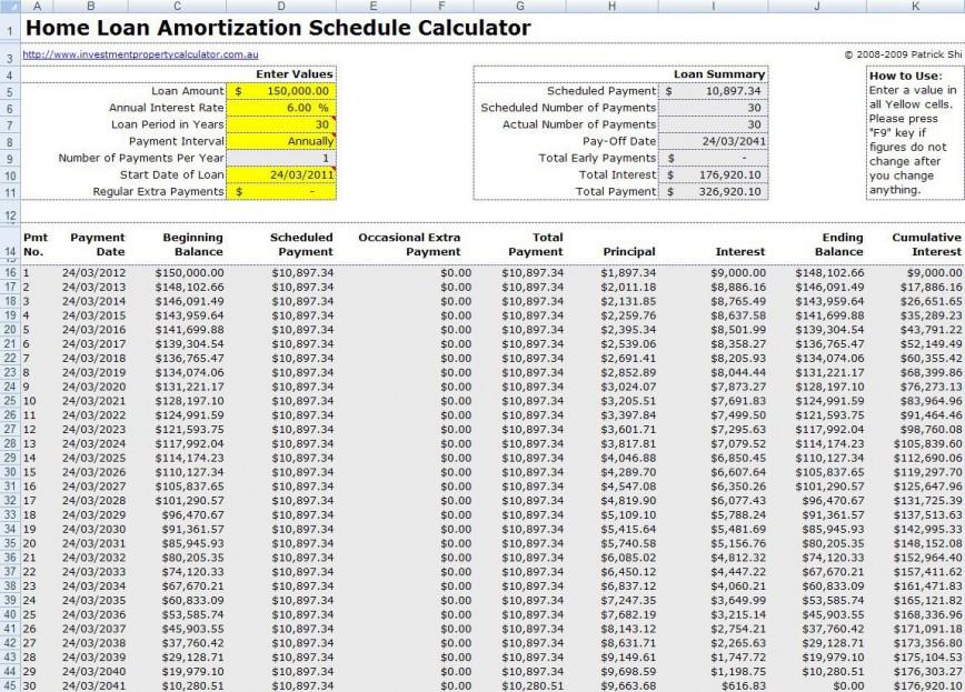 004 Best Loan Amortization Template Excel Sample  Schedule 2010 Calculator Free Download