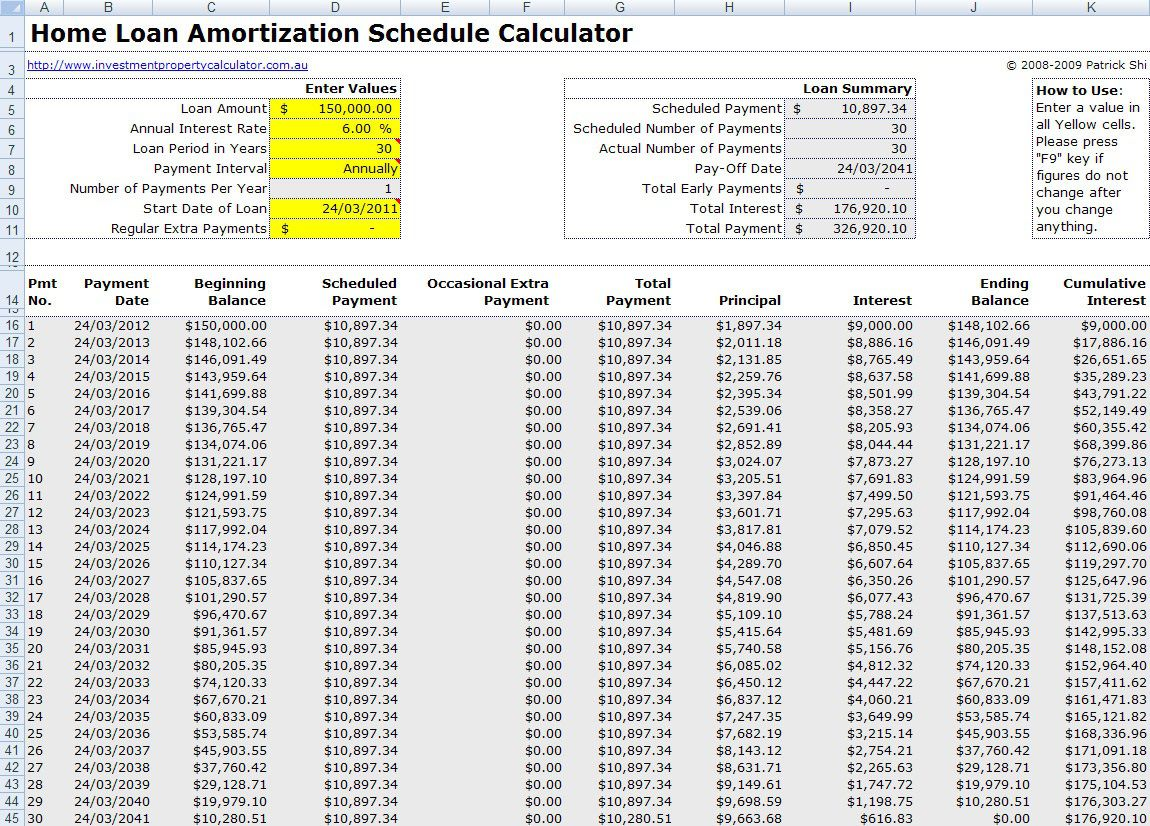004 Best Loan Amortization Template Excel Sample  Schedule Free 2010Full