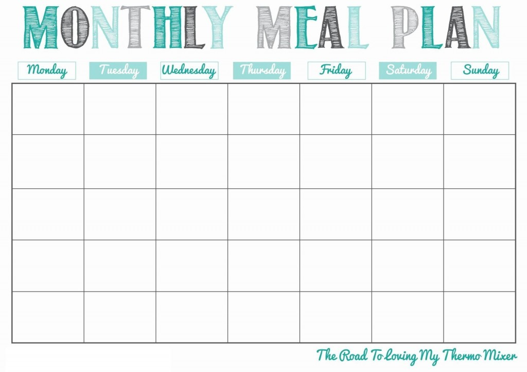 004 Best Meal Plan Calendar Template Highest Quality  Excel Weekly 30 DayLarge