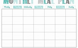 004 Best Meal Plan Calendar Template Highest Quality  Excel Weekly 30 Day