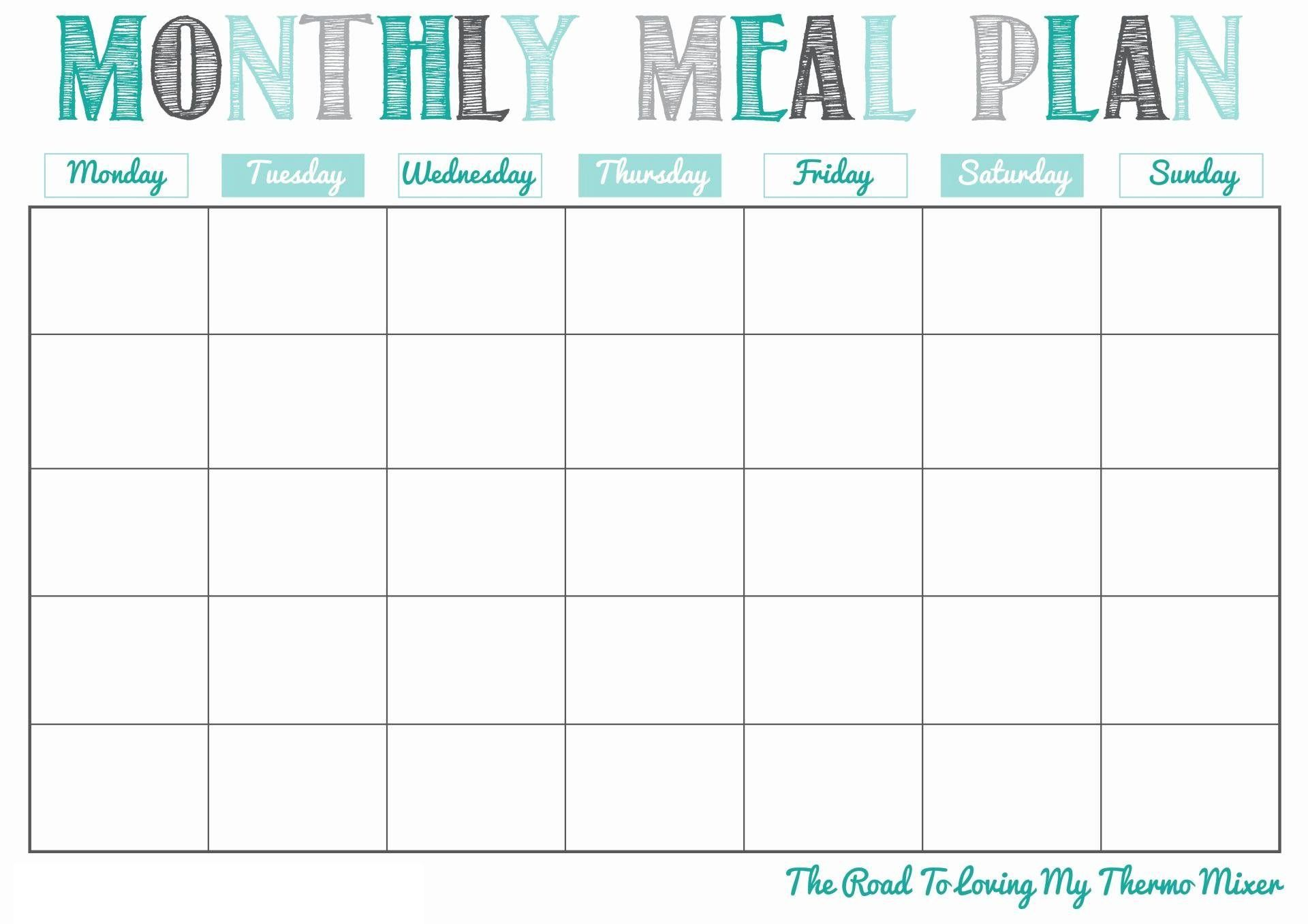 004 Best Meal Plan Calendar Template Highest Quality  Excel Weekly 30 DayFull