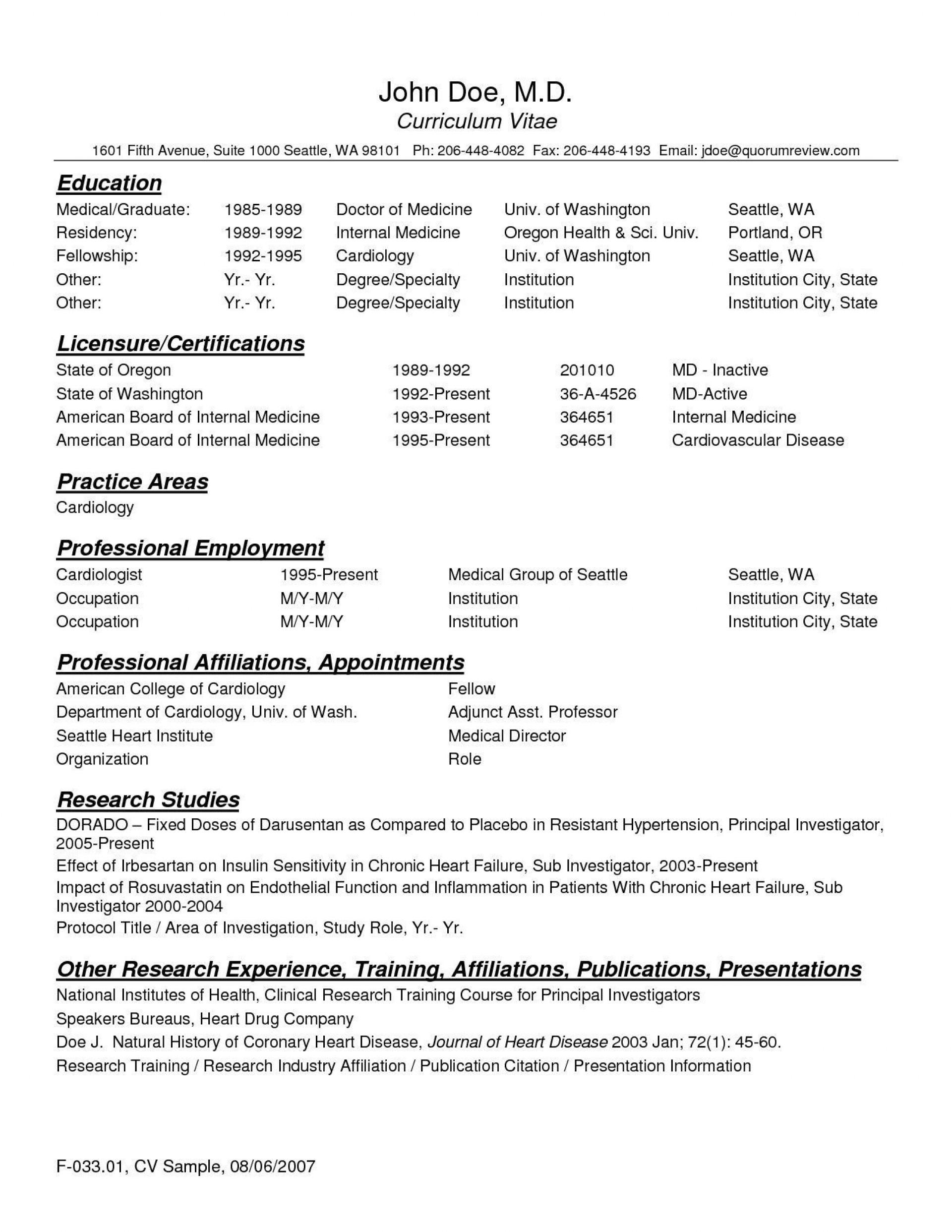 004 Best Medical Curriculum Vitae Template Design  Templates Word Sample Student1920