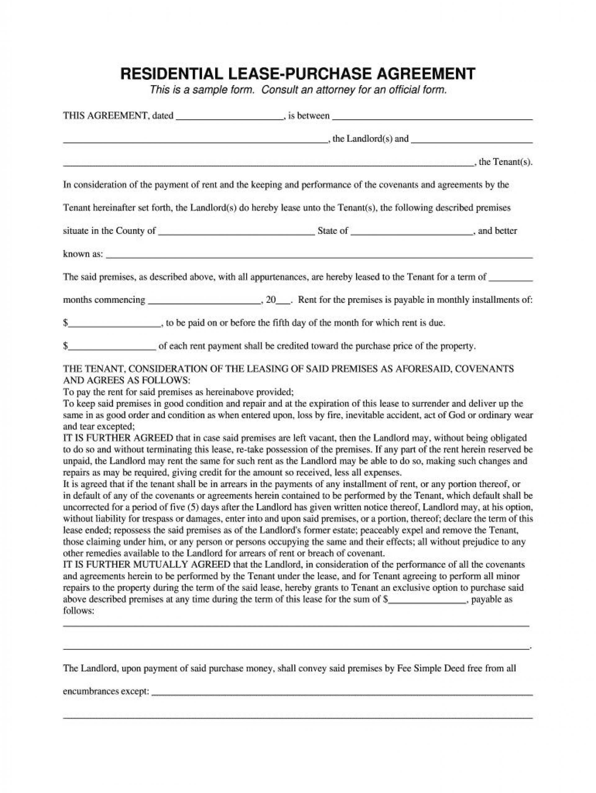 004 Best Rent To Own Template Design  Lease Agreement Canada Example1920
