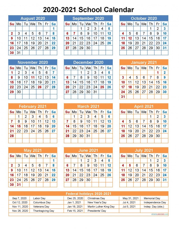 004 Best School Year Calendar Template Example  Excel 2019-20 WordLarge
