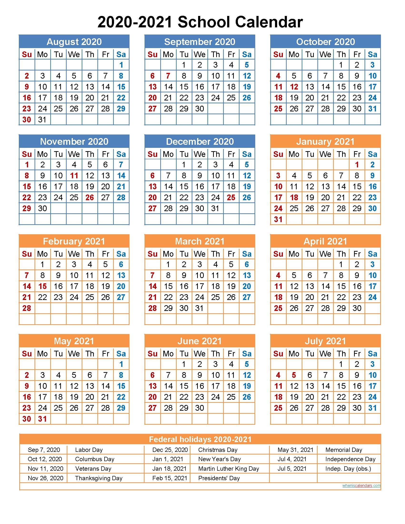004 Best School Year Calendar Template Example  Excel 2019-20 WordFull