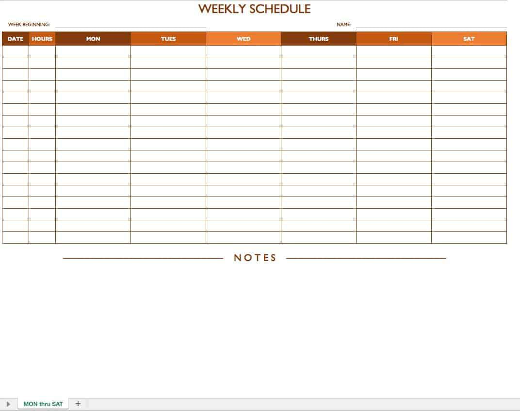 004 Best Weekly Work Schedule Template Highest Quality  Pdf Free ExcelFull