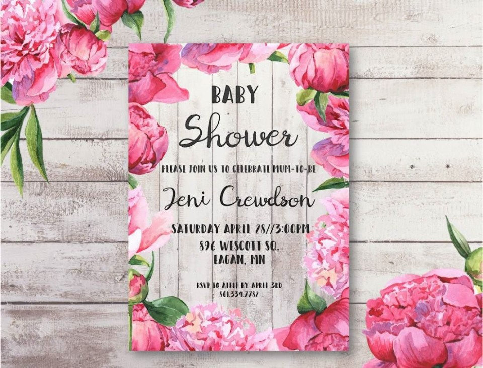 004 Breathtaking Baby Shower Invitation Girl Free Printable Picture  Twin960