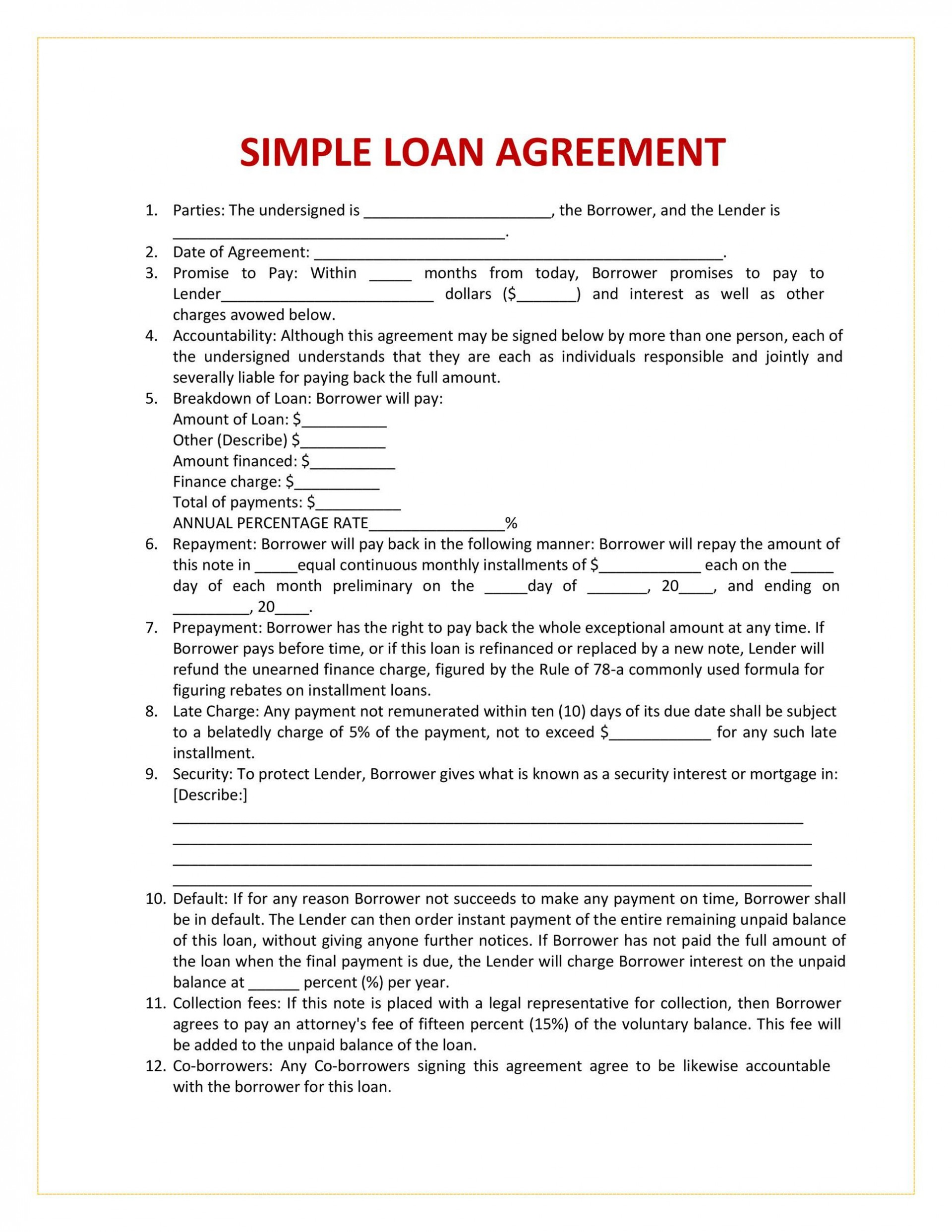 004 Breathtaking Free Loan Agreement Template Picture  Word Uk South African Interest1920