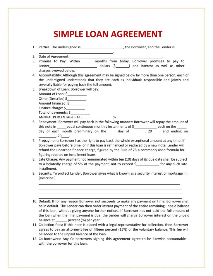 004 Breathtaking Free Loan Agreement Template Picture  Ontario Word Pdf Australia South Africa728