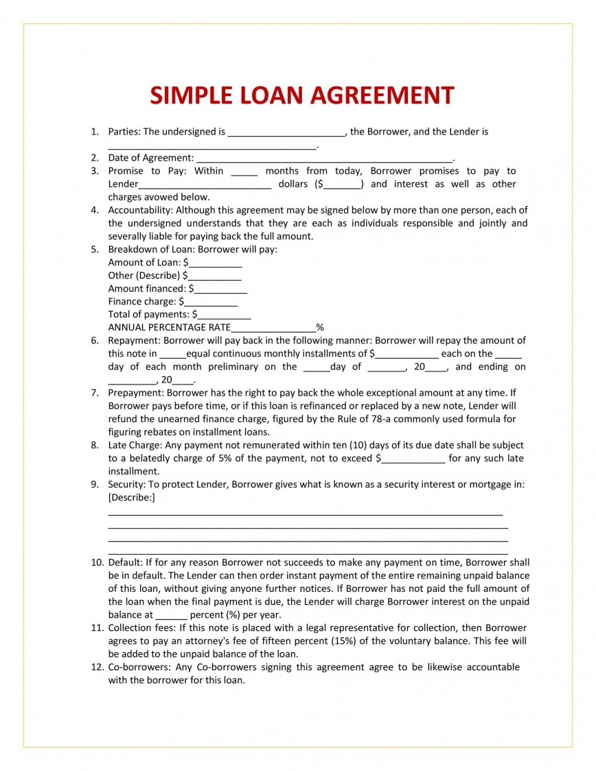 004 Breathtaking Free Loan Agreement Template Picture  Ontario Word Pdf Australia South Africa868