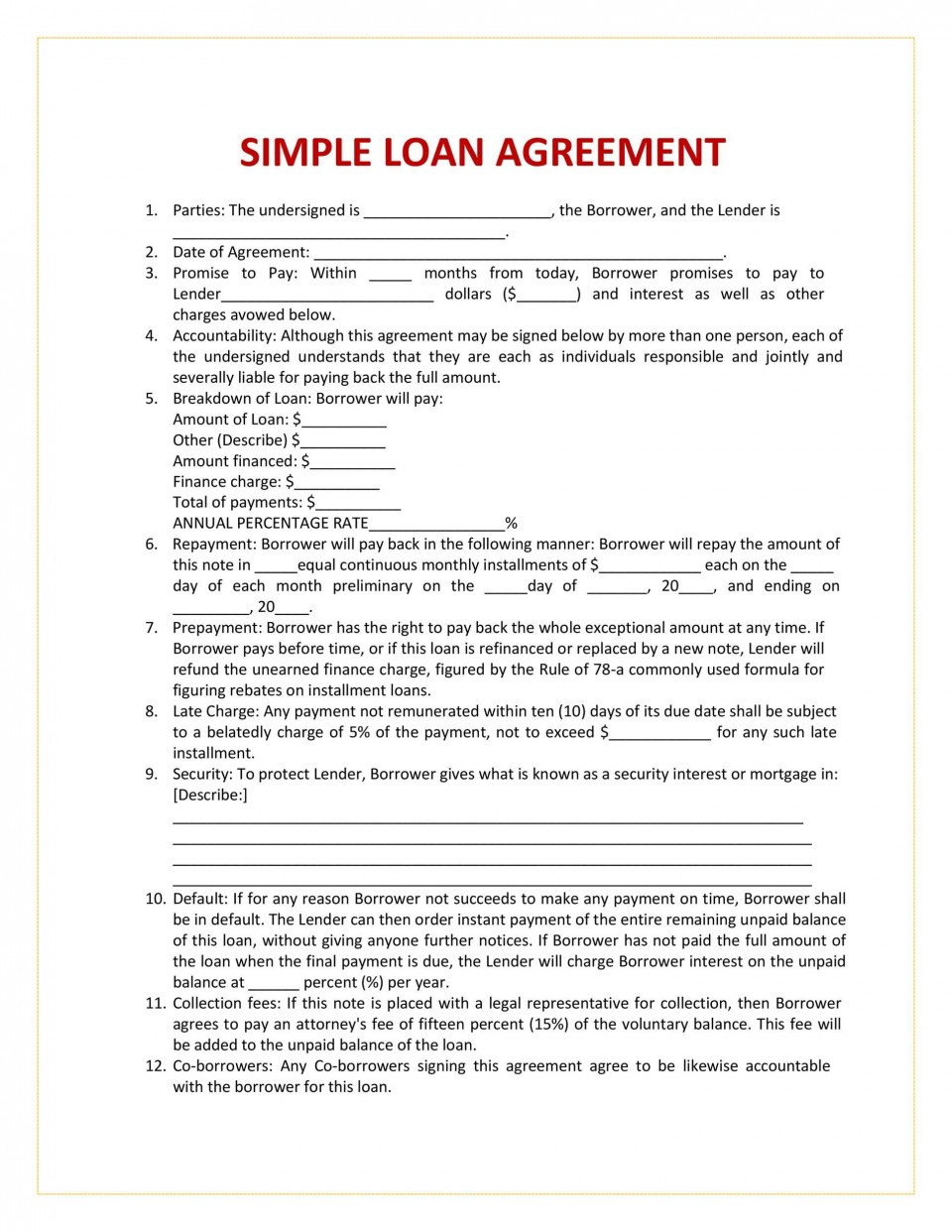 004 Breathtaking Free Loan Agreement Template Picture  Ontario Word Pdf Australia South Africa960