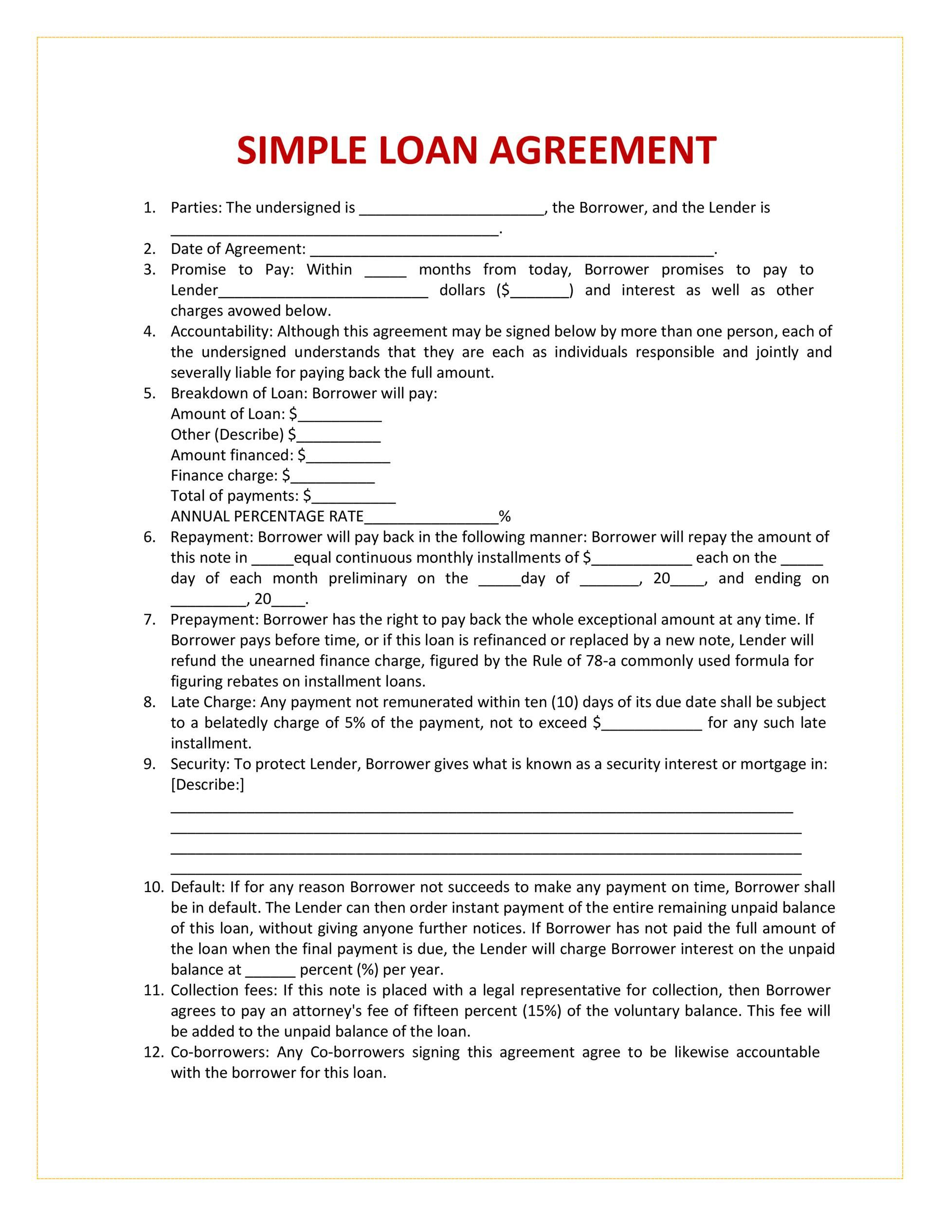 004 Breathtaking Free Loan Agreement Template Picture  Word Uk South African InterestFull