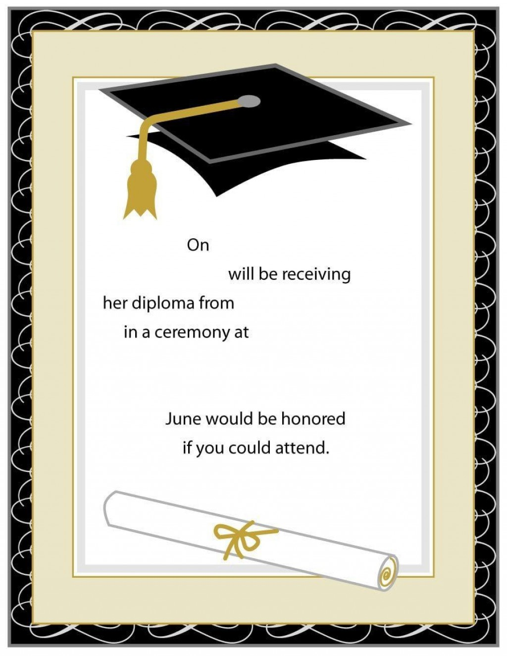 004 Breathtaking Free Printable Graduation Invitation Template High Resolution  Party For WordLarge