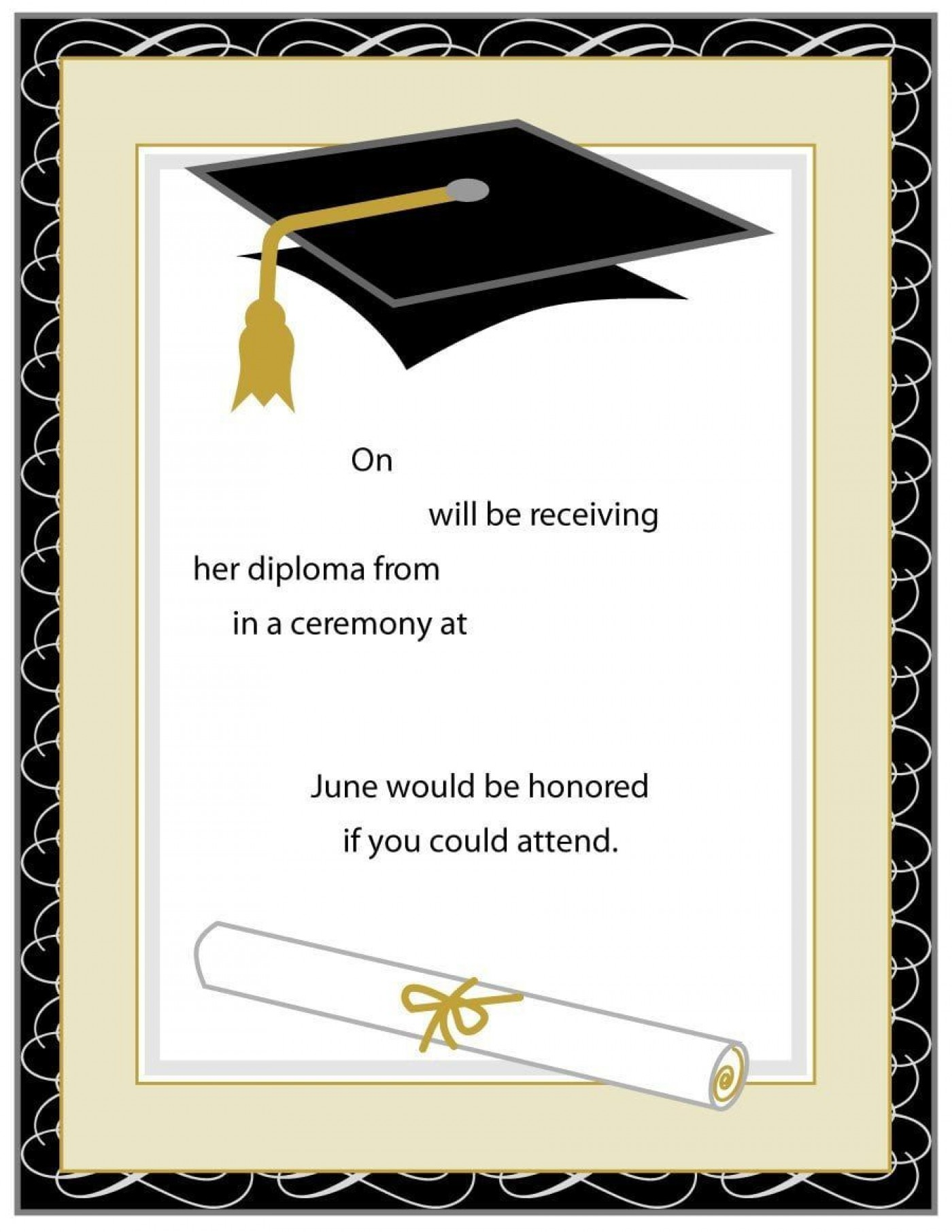 004 Breathtaking Free Printable Graduation Invitation Template High Resolution  Party For Word1400