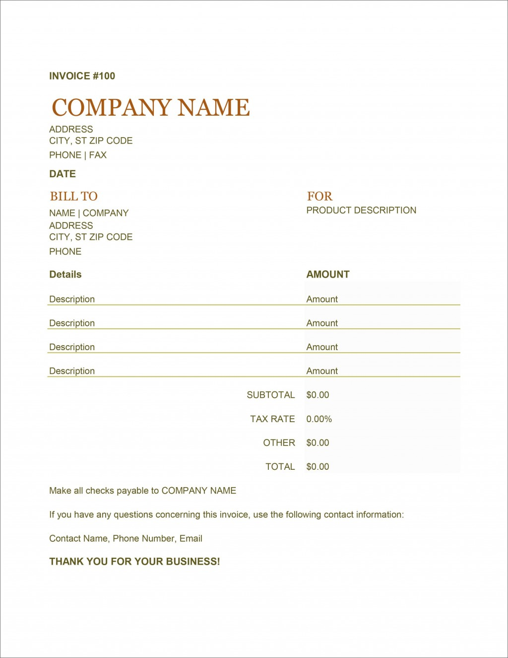 004 Breathtaking Free Service Invoice Template High Definition  Microsoft Word Printable FormLarge