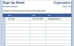 004 Breathtaking Free Sign Up Sheet Template Photo  Printable Potluck Word Blank Google Doc