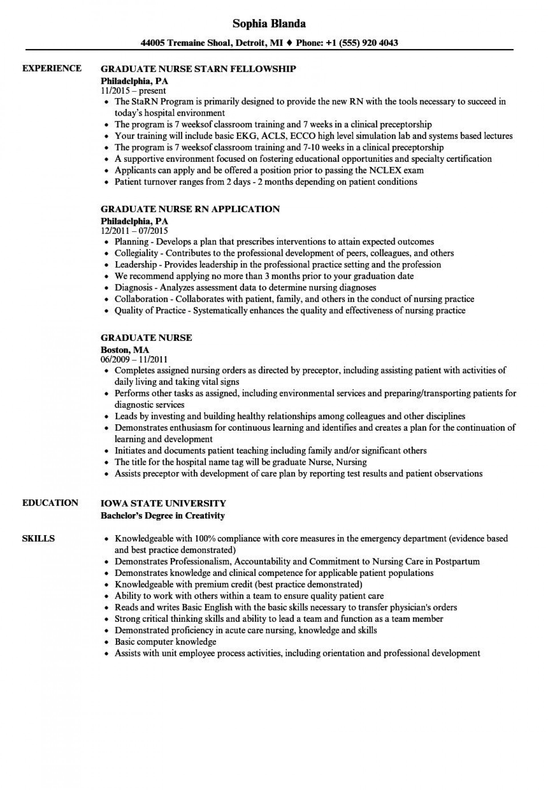004 Breathtaking Graduate Nurse Resume Template Picture  Student Free New Practitioner Grad1920