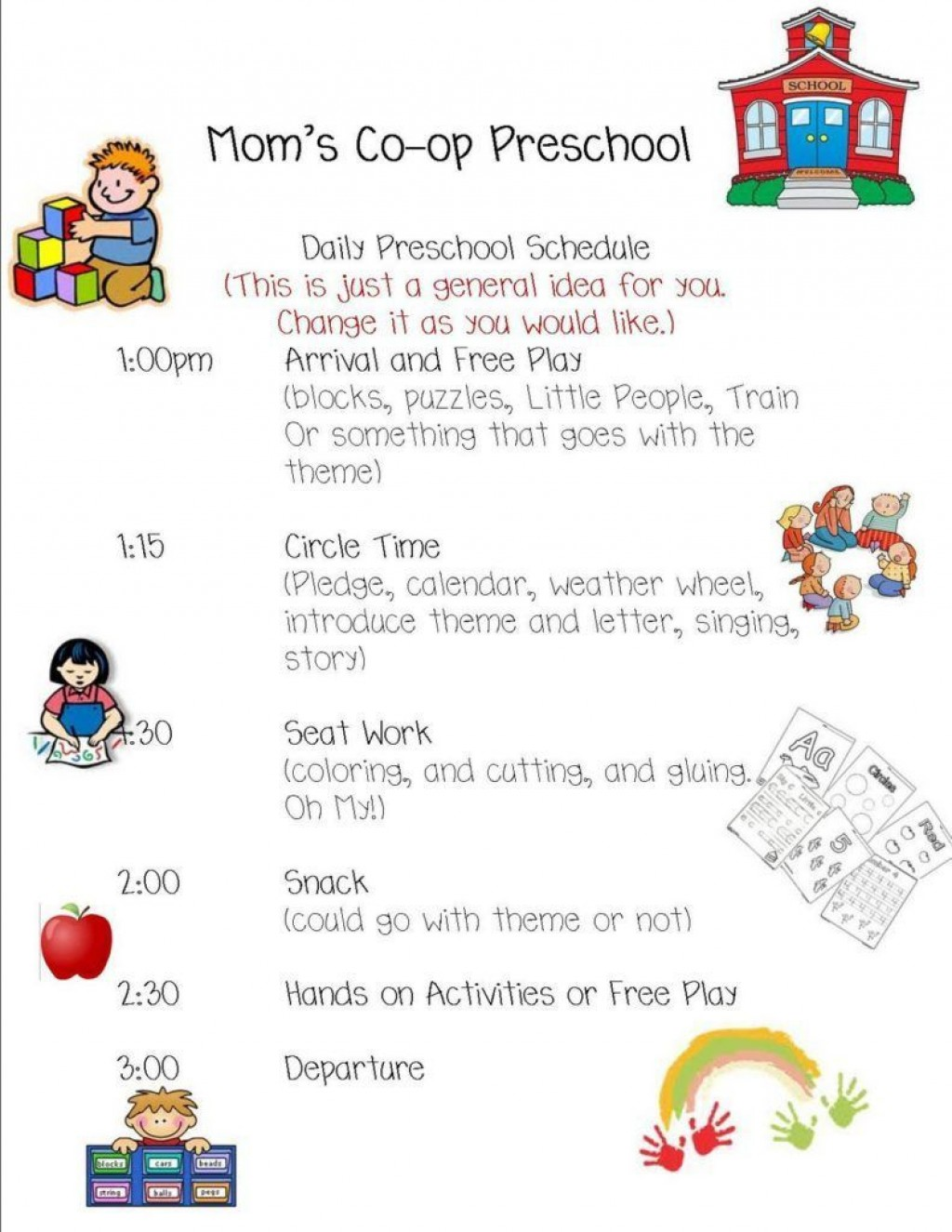 004 Breathtaking Preschool Daily Schedule Template Idea  Planner Routine PlanLarge