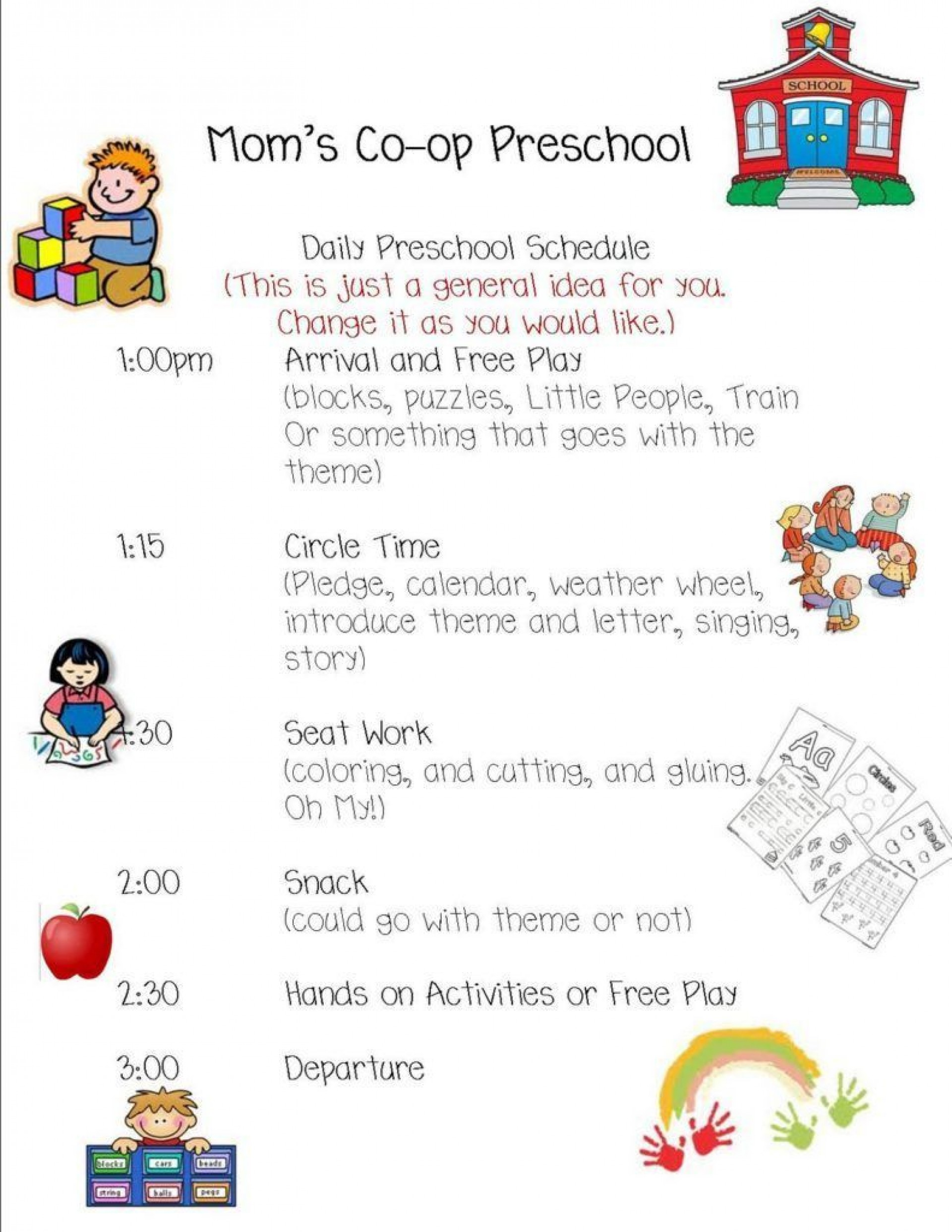 004 Breathtaking Preschool Daily Schedule Template Idea  Planner Routine Plan1920