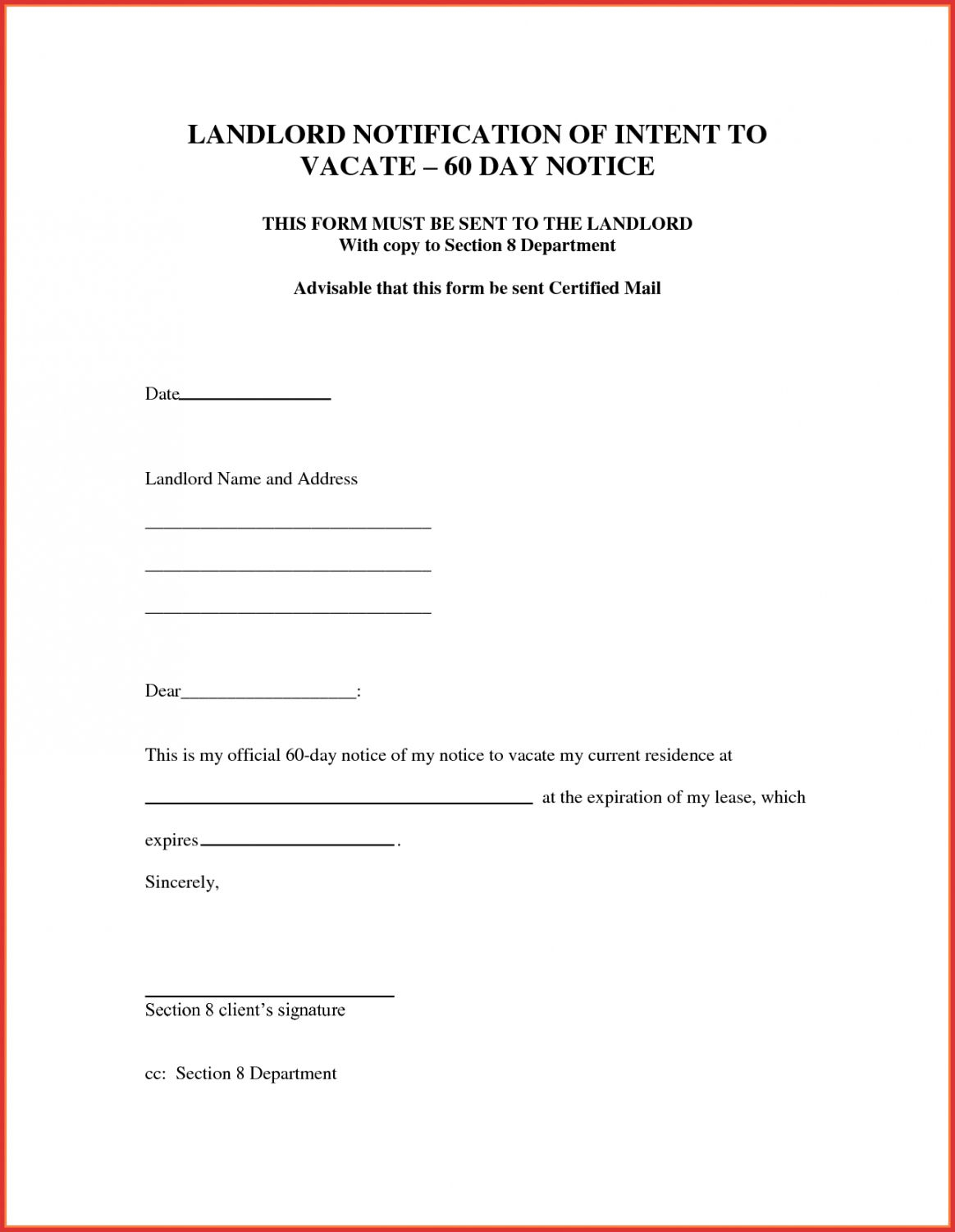 004 Dreaded 60 Day Notice Template Photo  To Landlord Move Out Letter Apartment LeaseFull