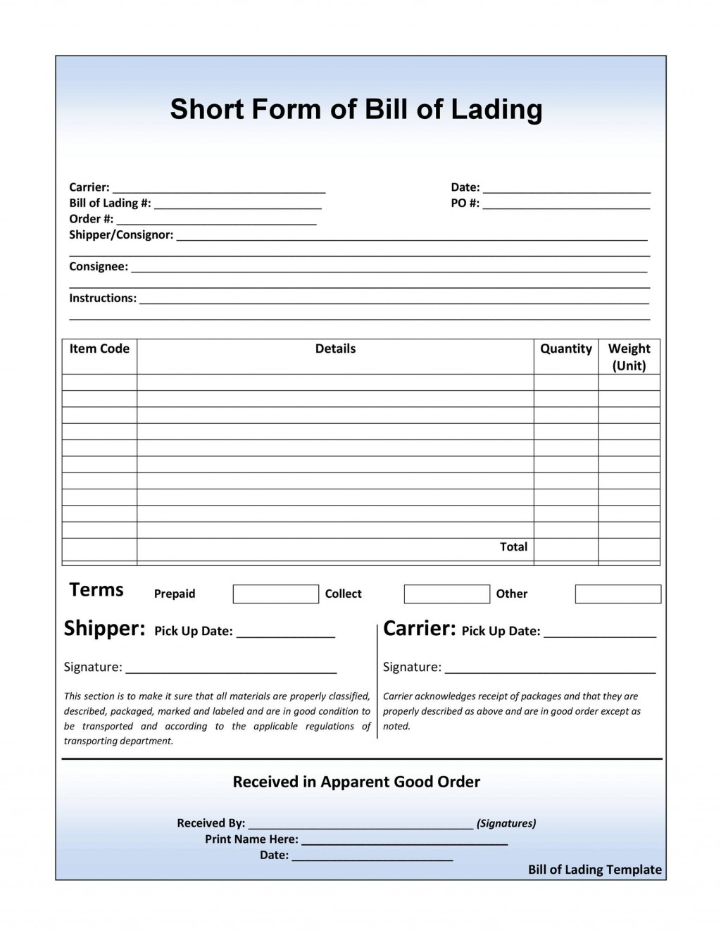 004 Dreaded Bill Of Lading Template Word Free Sample  FormLarge
