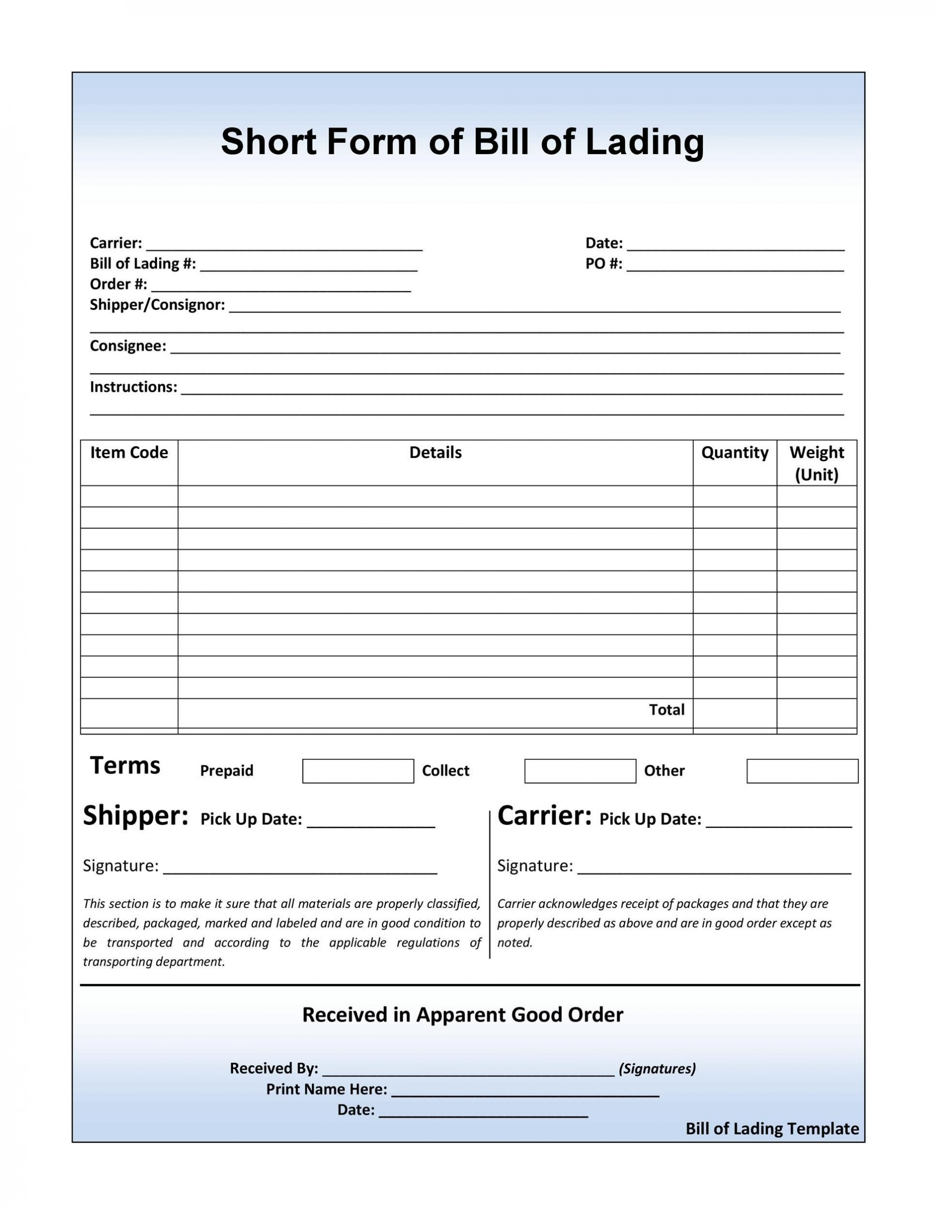 004 Dreaded Bill Of Lading Template Word Free Sample  Form1920